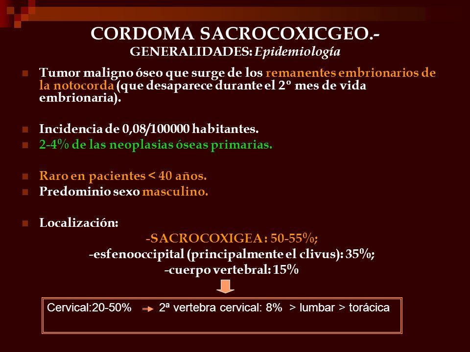 CORDOMA SACROCOXICGEO.- GENERALIDADES: Epidemiología