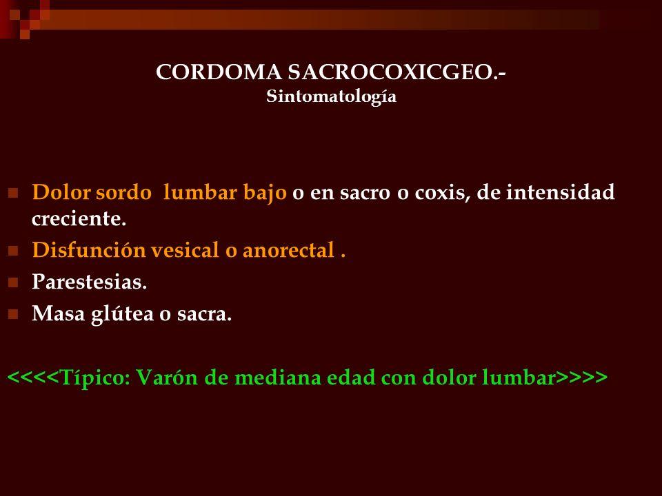 CORDOMA SACROCOXICGEO.- Sintomatología