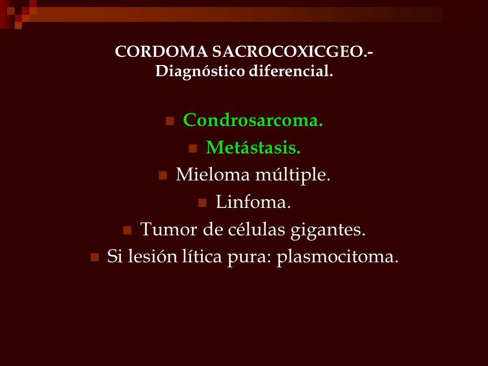 CORDOMA SACROCOXICGEO.- Diagnóstico diferencial.