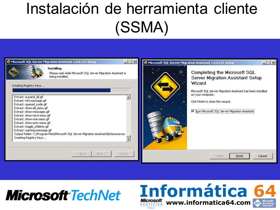 Instalación de herramienta cliente (SSMA)