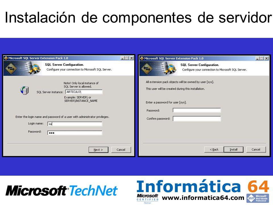 Instalación de componentes de servidor