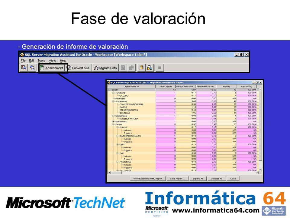 Fase de valoración - Generación de informe de valoración