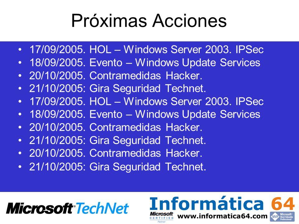 Próximas Acciones 17/09/2005. HOL – Windows Server 2003. IPSec