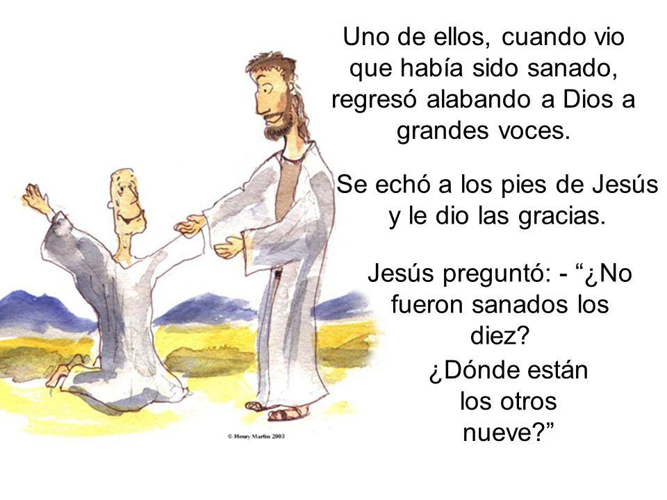 Se echó a los pies de Jesús y le dio las gracias.