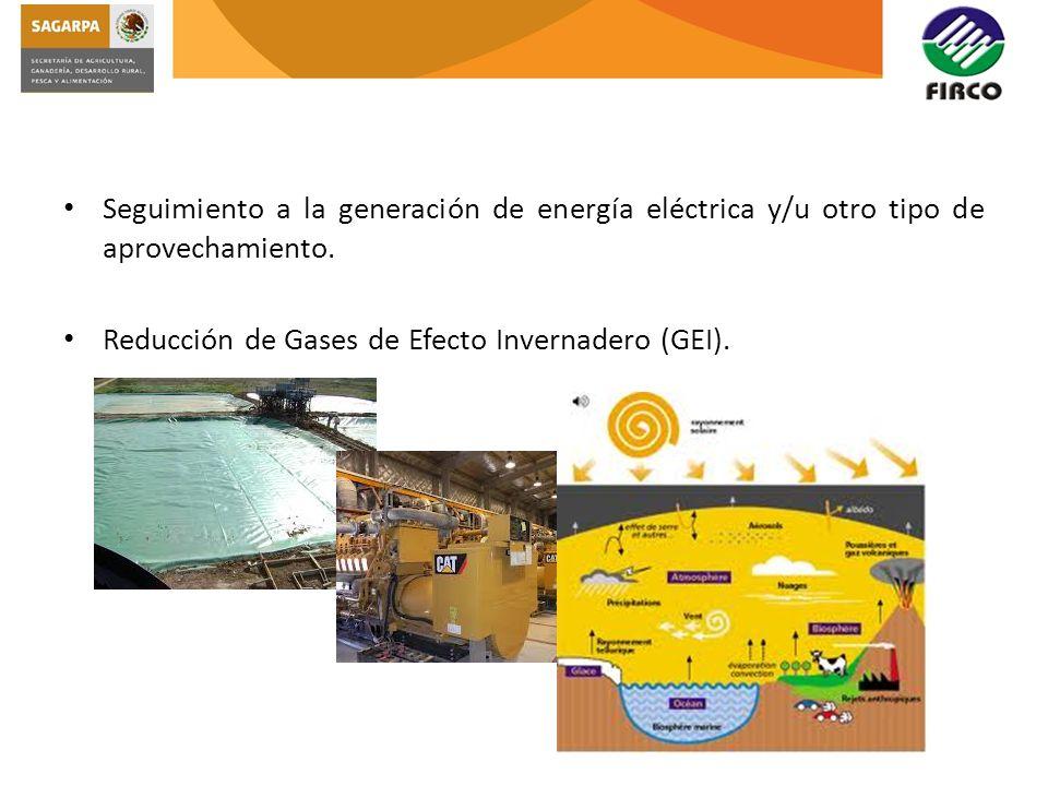 Seguimiento a la generación de energía eléctrica y/u otro tipo de aprovechamiento.