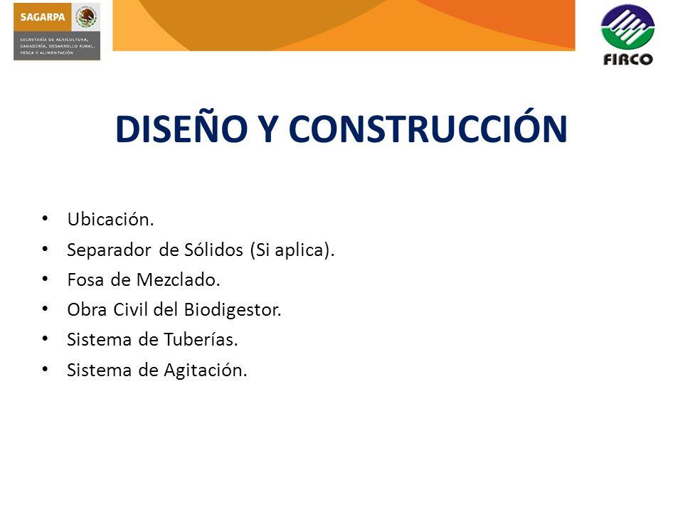 DISEÑO Y CONSTRUCCIÓN Ubicación. Separador de Sólidos (Si aplica).