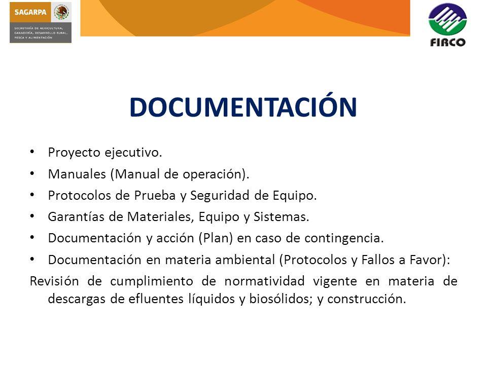DOCUMENTACIÓN Proyecto ejecutivo. Manuales (Manual de operación).