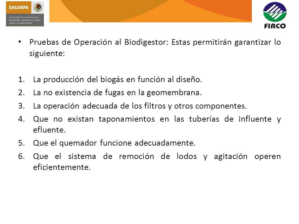 Pruebas de Operación al Biodigestor: Estas permitirán garantizar lo siguiente: