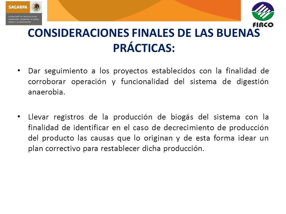CONSIDERACIONES FINALES DE LAS BUENAS PRÁCTICAS: