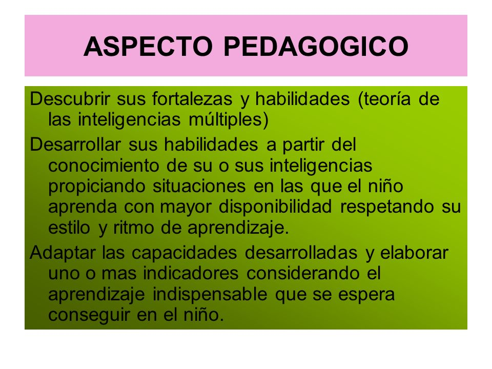 ASPECTO PEDAGOGICO Descubrir sus fortalezas y habilidades (teoría de las inteligencias múltiples)