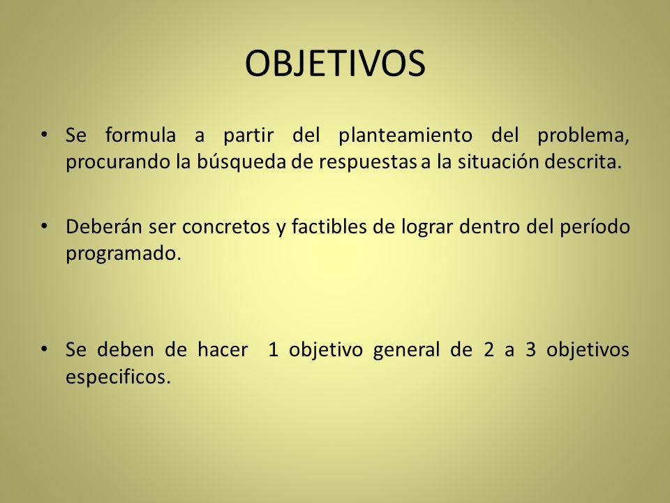 OBJETIVOSSe formula a partir del planteamiento del problema, procurando la búsqueda de respuestas a la situación descrita.