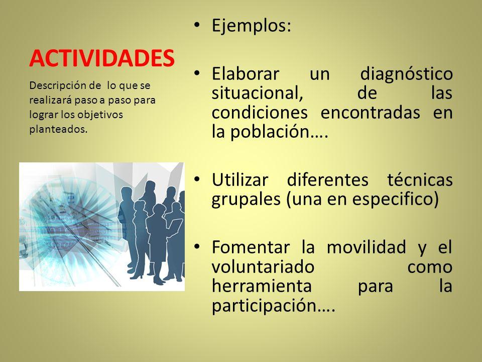 ACTIVIDADES Ejemplos: