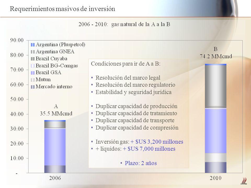 Requerimientos masivos de inversión