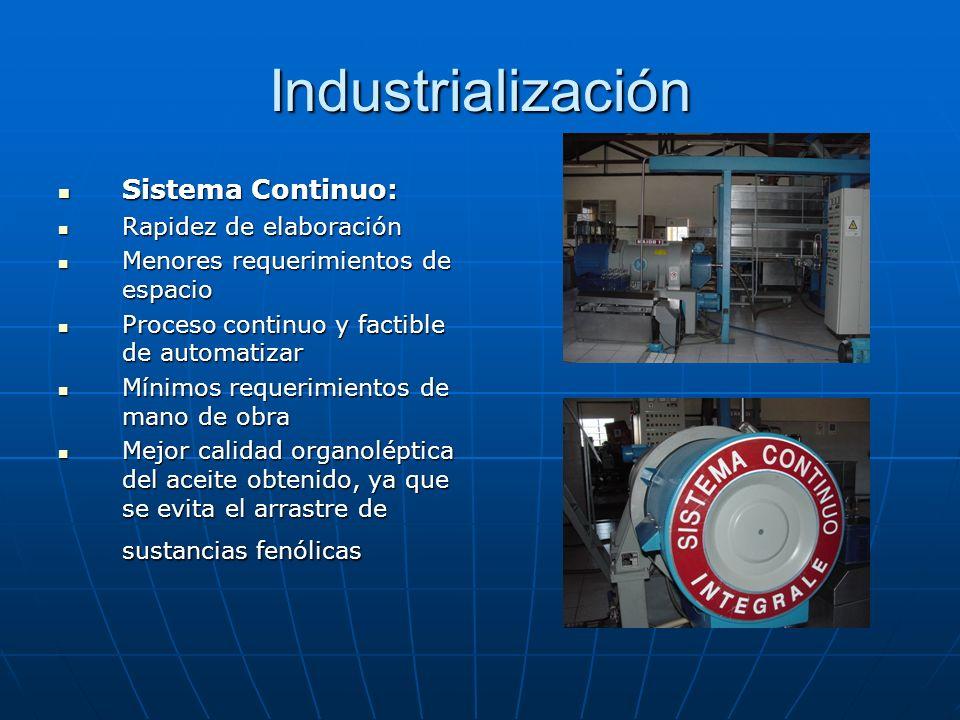 Industrialización Sistema Continuo: Rapidez de elaboración