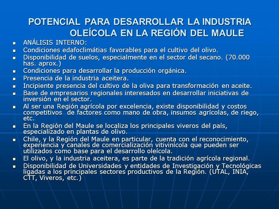 POTENCIAL PARA DESARROLLAR LA INDUSTRIA OLEÍCOLA EN LA REGIÓN DEL MAULE