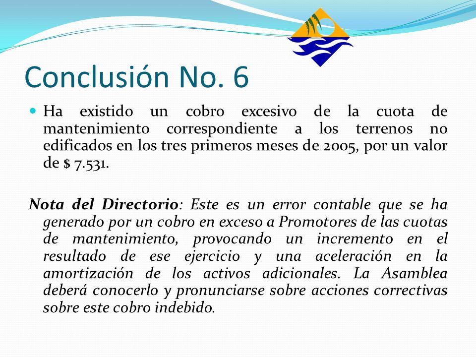 Conclusión No. 6