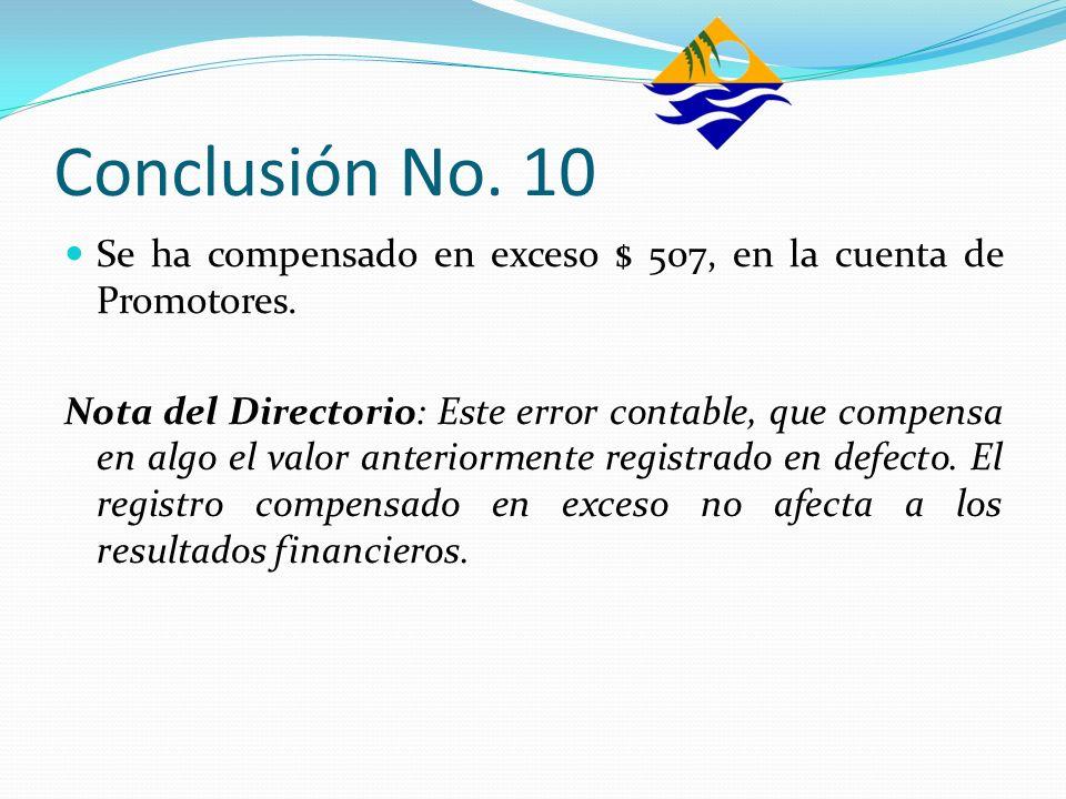 Conclusión No. 10Se ha compensado en exceso $ 507, en la cuenta de Promotores.