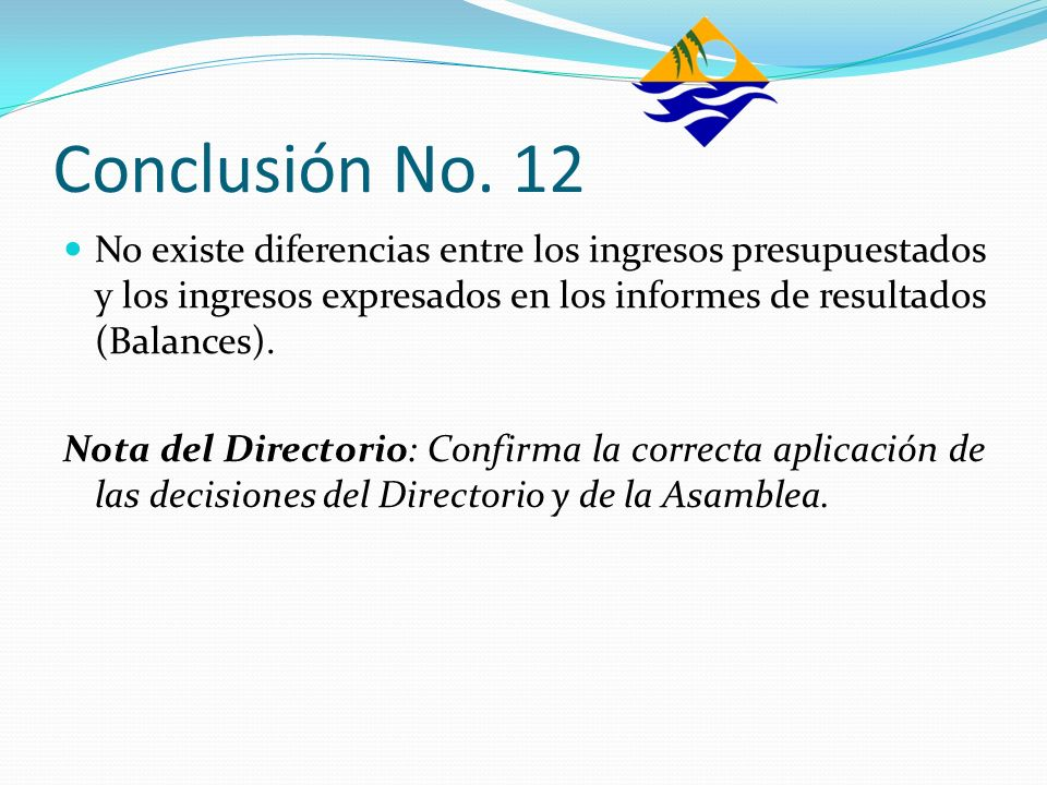 Conclusión No. 12No existe diferencias entre los ingresos presupuestados y los ingresos expresados en los informes de resultados (Balances).