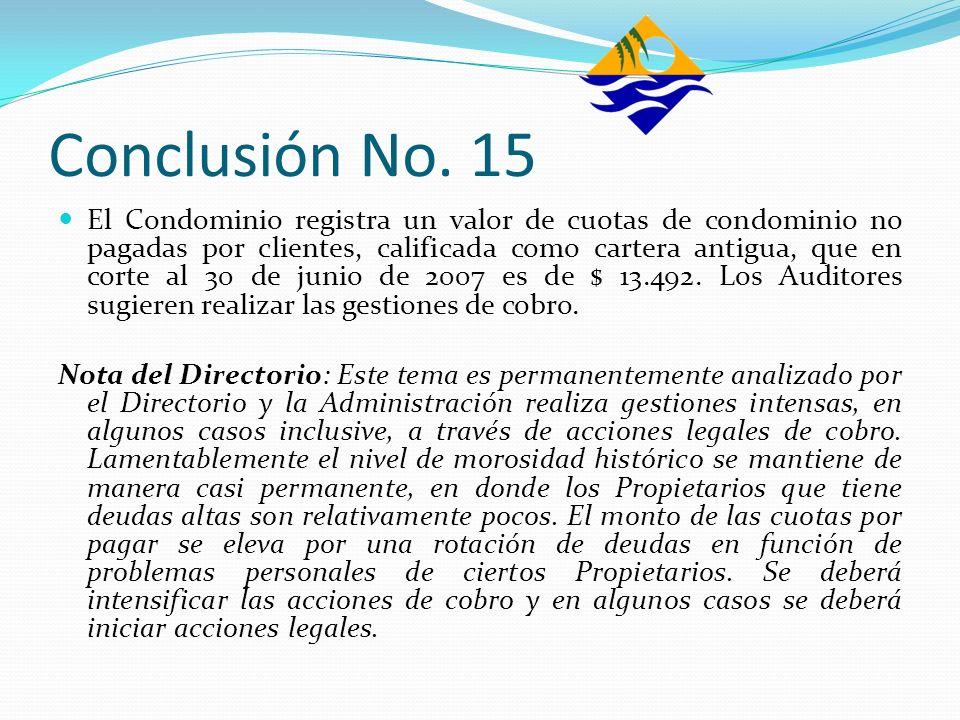 Conclusión No. 15