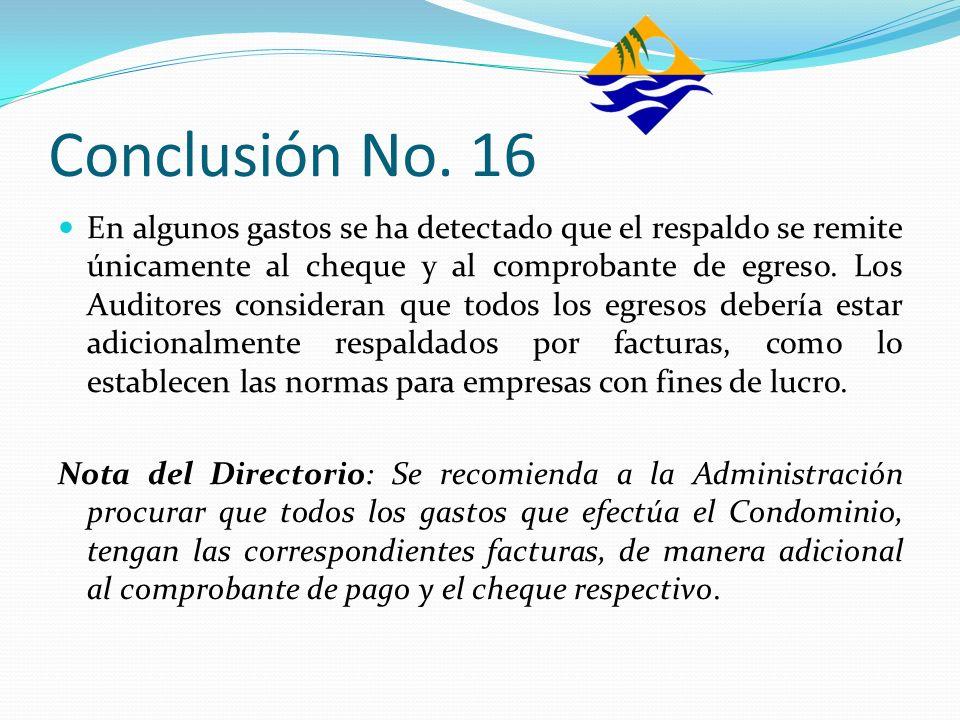 Conclusión No. 16