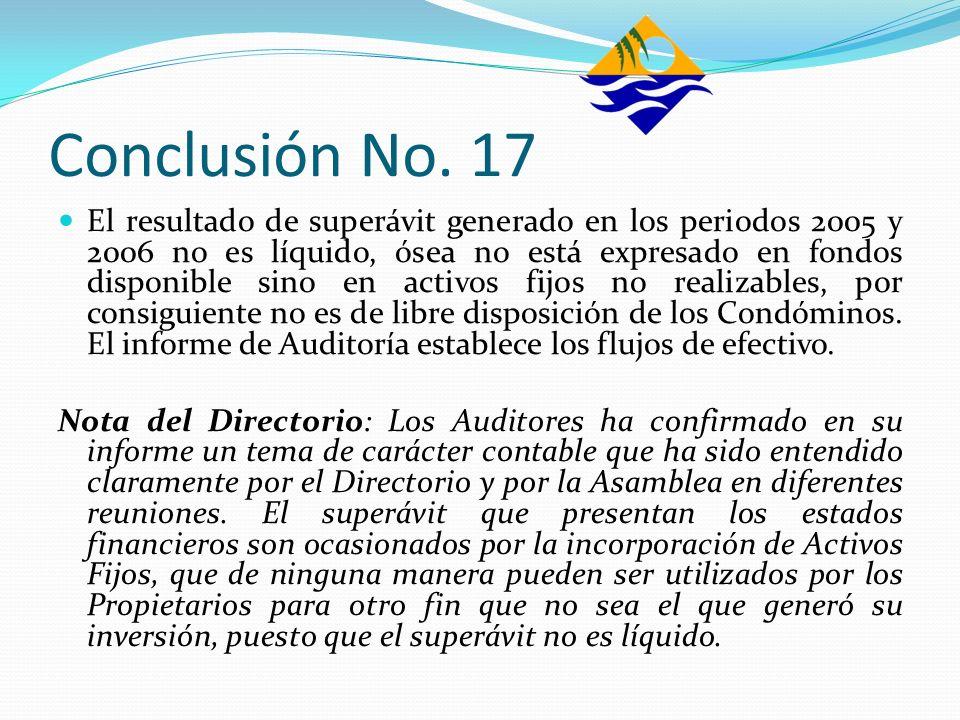 Conclusión No. 17