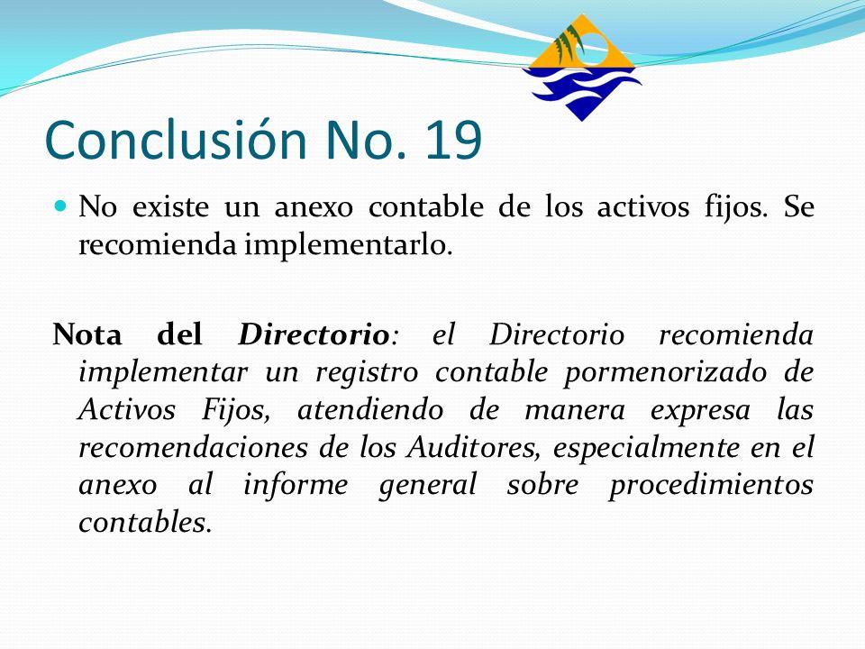 Conclusión No. 19No existe un anexo contable de los activos fijos. Se recomienda implementarlo.