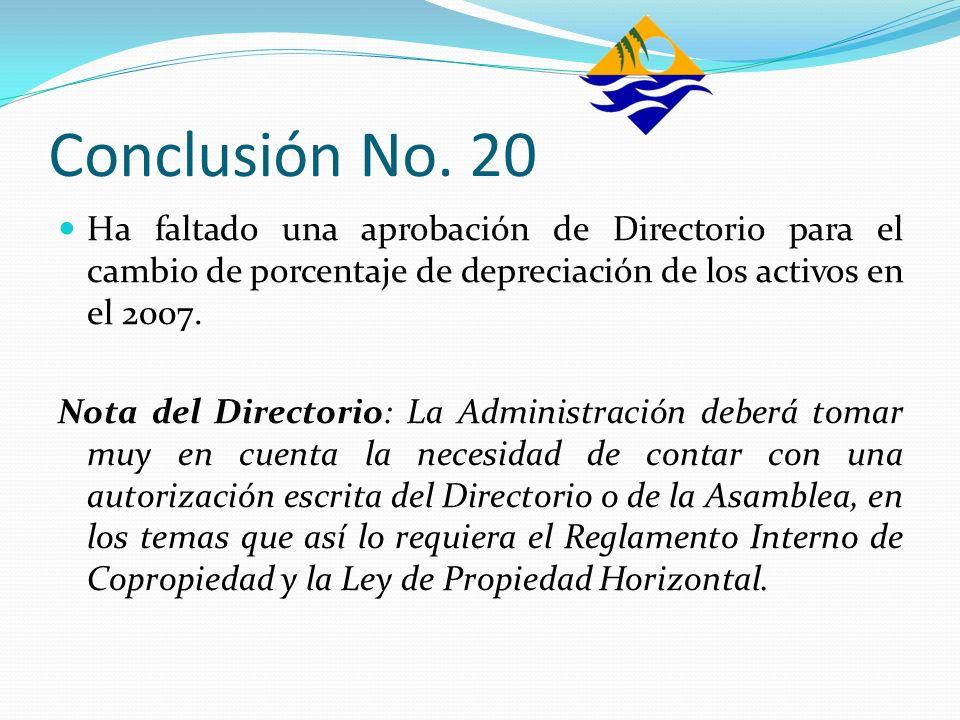 Conclusión No. 20Ha faltado una aprobación de Directorio para el cambio de porcentaje de depreciación de los activos en el 2007.