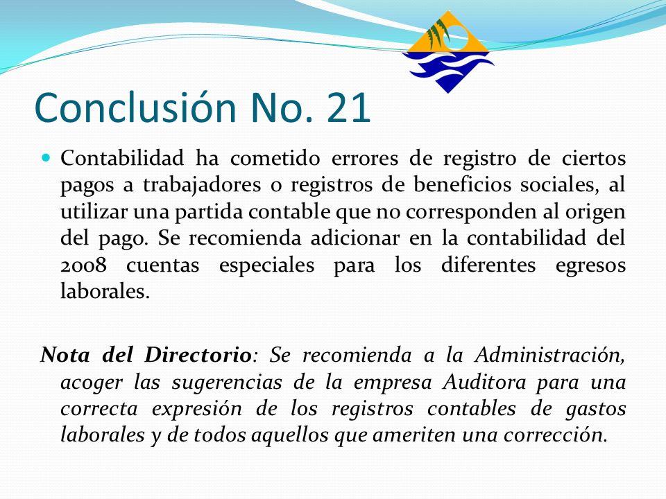 Conclusión No. 21