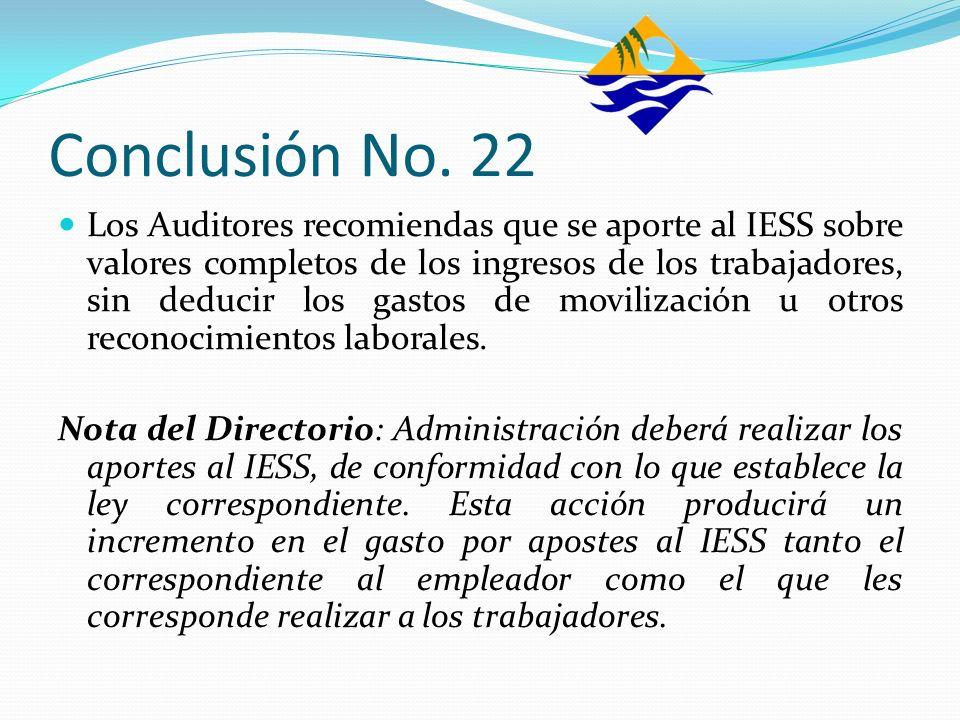 Conclusión No. 22