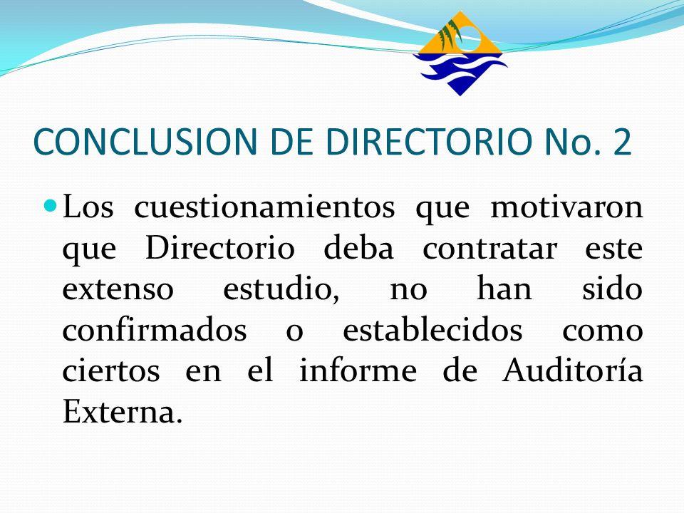 CONCLUSION DE DIRECTORIO No. 2