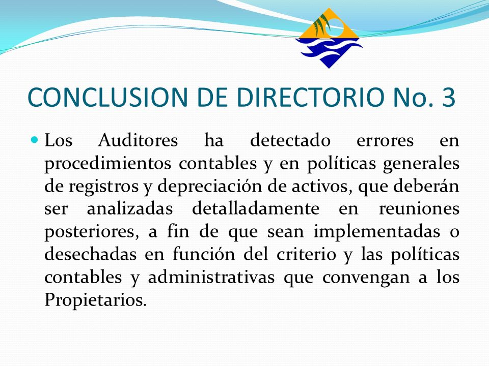 CONCLUSION DE DIRECTORIO No. 3