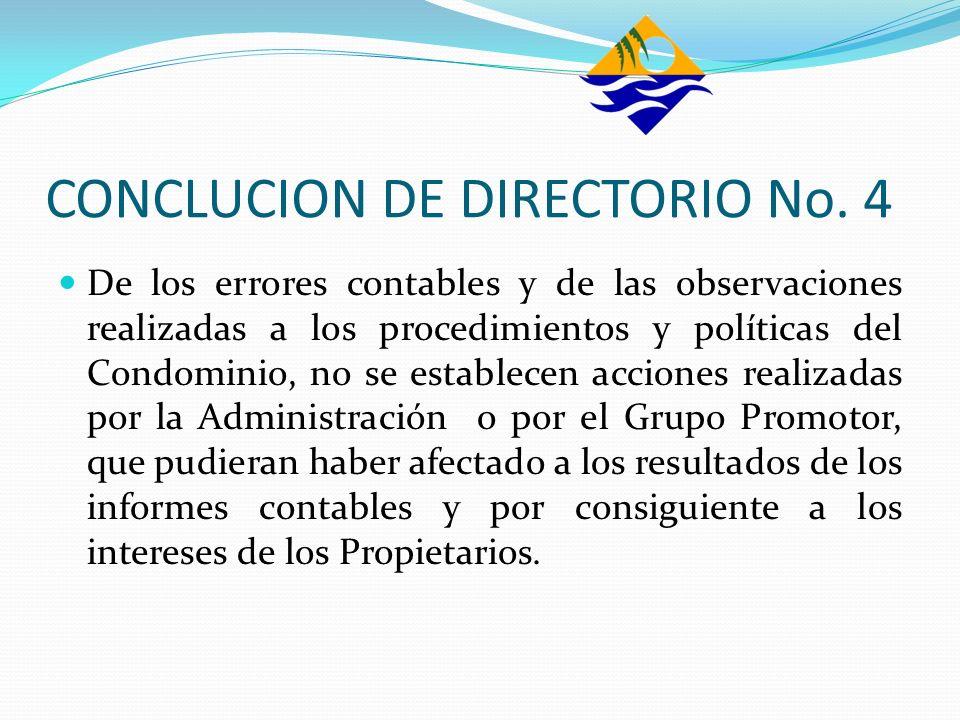 CONCLUCION DE DIRECTORIO No. 4