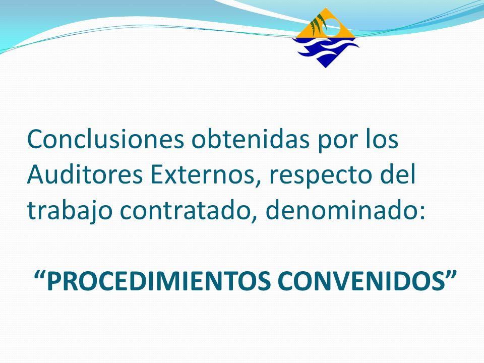 Conclusiones obtenidas por los Auditores Externos, respecto del trabajo contratado, denominado: PROCEDIMIENTOS CONVENIDOS