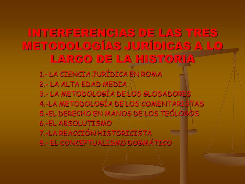 INTERFERENCIAS DE LAS TRES METODOLOGÍAS JURÍDICAS A LO LARGO DE LA HISTORIA