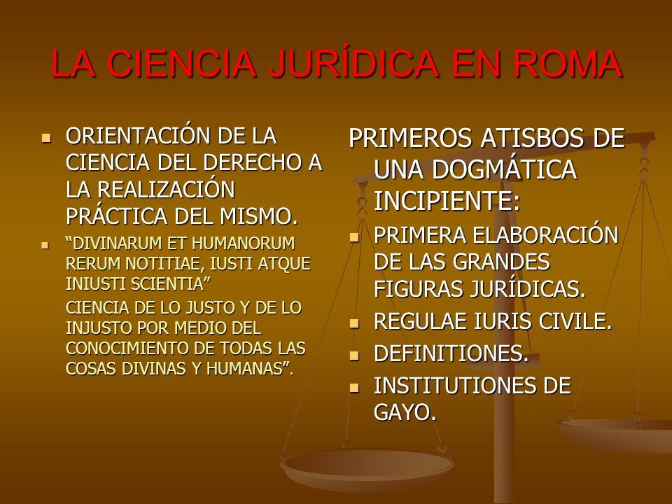 LA CIENCIA JURÍDICA EN ROMA