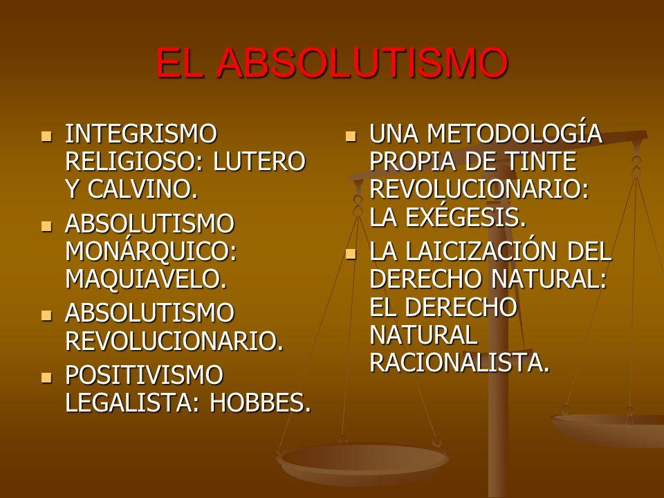 EL ABSOLUTISMO INTEGRISMO RELIGIOSO: LUTERO Y CALVINO.