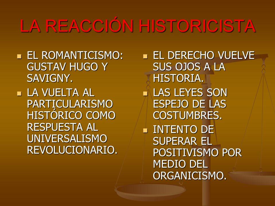 LA REACCIÓN HISTORICISTA