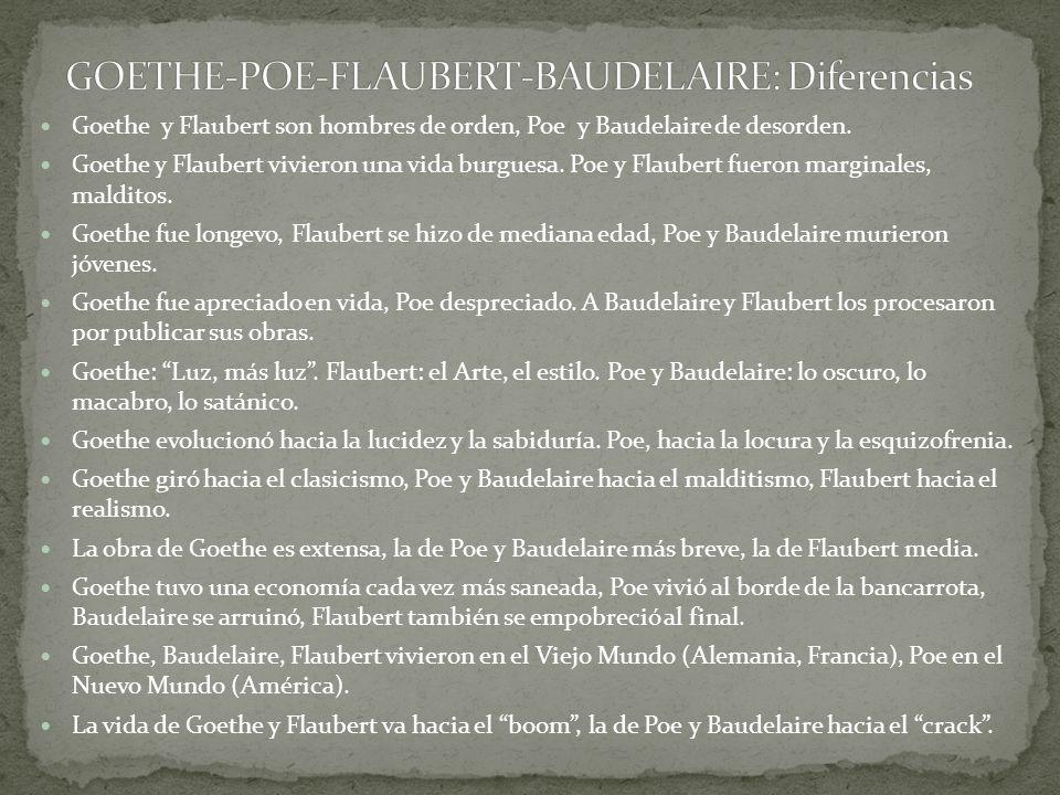 GOETHE-POE-FLAUBERT-BAUDELAIRE: Diferencias
