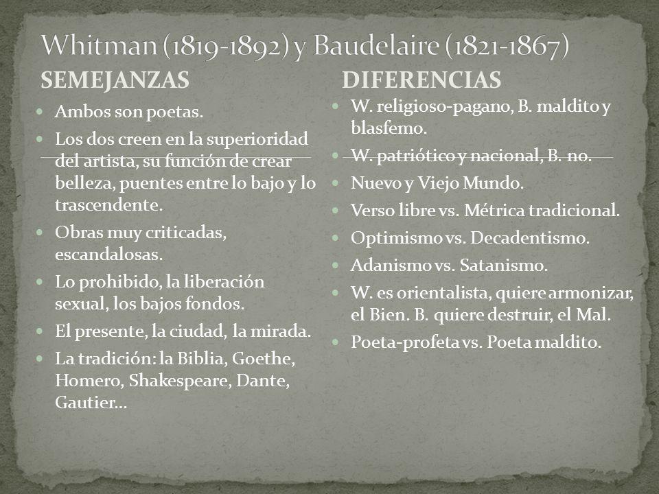 Whitman (1819-1892) y Baudelaire (1821-1867)