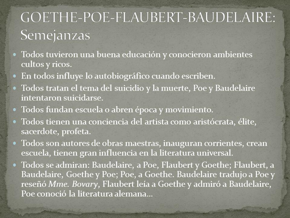 GOETHE-POE-FLAUBERT-BAUDELAIRE: Semejanzas