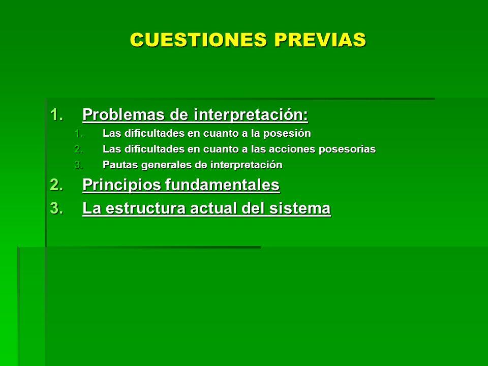 CUESTIONES PREVIAS Problemas de interpretación: