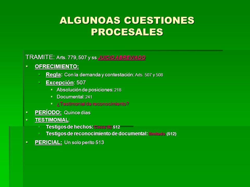 ALGUNOAS CUESTIONES PROCESALES