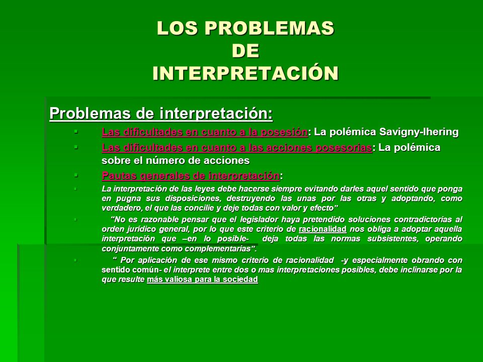 LOS PROBLEMAS DE INTERPRETACIÓN