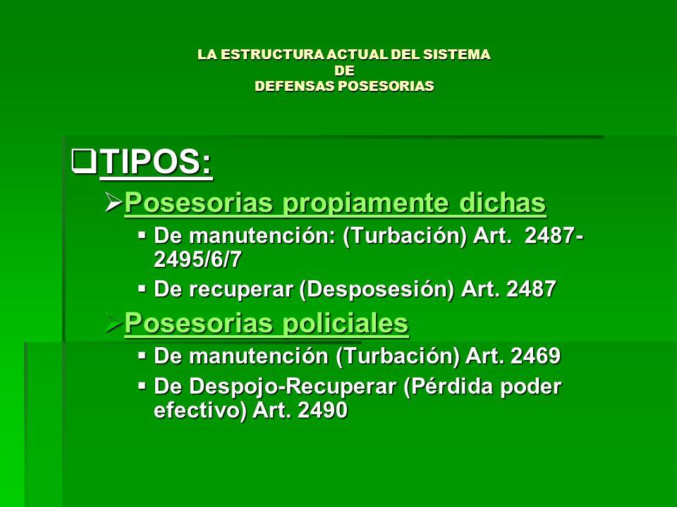 LA ESTRUCTURA ACTUAL DEL SISTEMA DE DEFENSAS POSESORIAS