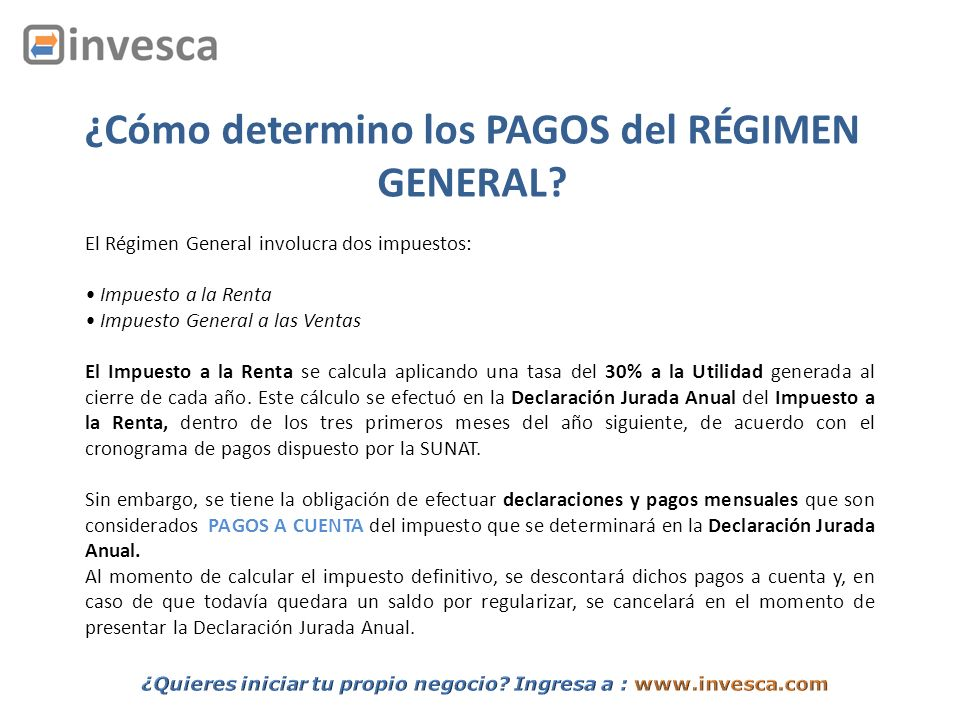 ¿Cómo determino los PAGOS del RÉGIMEN GENERAL