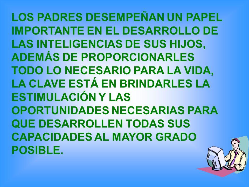 LOS PADRES DESEMPEÑAN UN PAPEL IMPORTANTE EN EL DESARROLLO DE LAS INTELIGENCIAS DE SUS HIJOS, ADEMÁS DE PROPORCIONARLES TODO LO NECESARIO PARA LA VIDA, LA CLAVE ESTÁ EN BRINDARLES LA ESTIMULACIÓN Y LAS OPORTUNIDADES NECESARIAS PARA QUE DESARROLLEN TODAS SUS CAPACIDADES AL MAYOR GRADO POSIBLE.