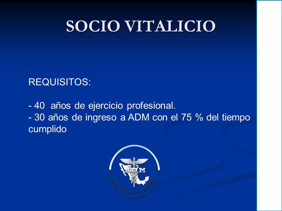 SOCIO VITALICIO REQUISITOS: 40 años de ejercicio profesional.
