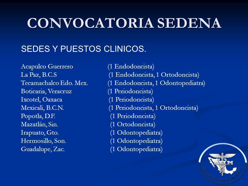 CONVOCATORIA SEDENA SEDES Y PUESTOS CLINICOS.