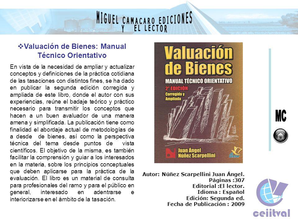 Valuación de Bienes: Manual Técnico Orientativo