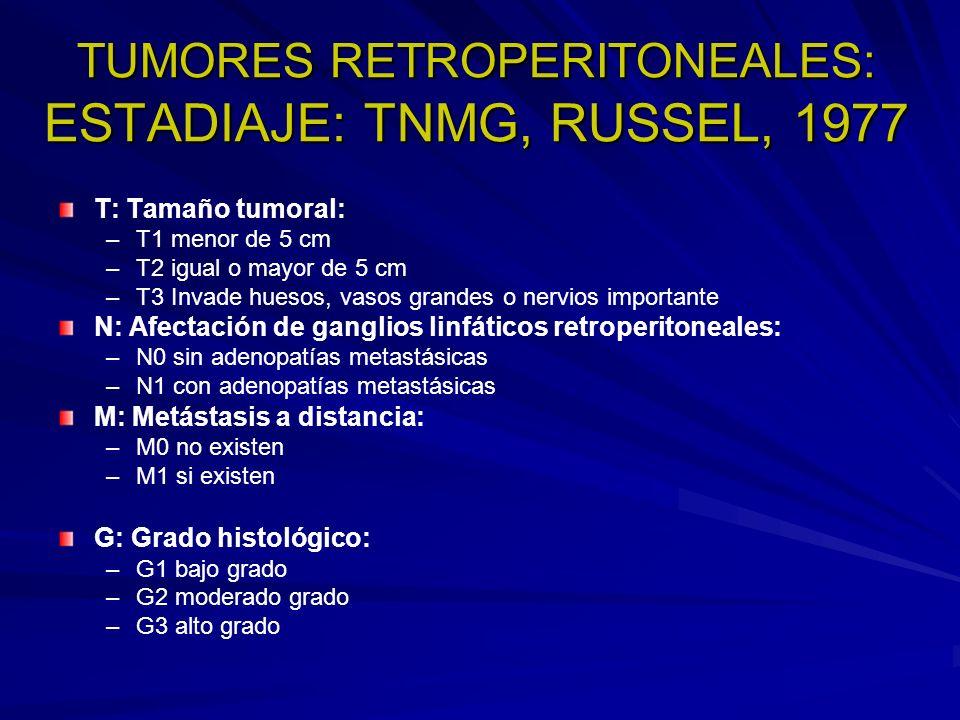 TUMORES RETROPERITONEALES: ESTADIAJE: TNMG, RUSSEL, 1977